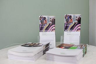 Flyer für die Werkschau mit dem eigens entwickelten Corporate Design. © HTW Berlin / Marco Ruhlig